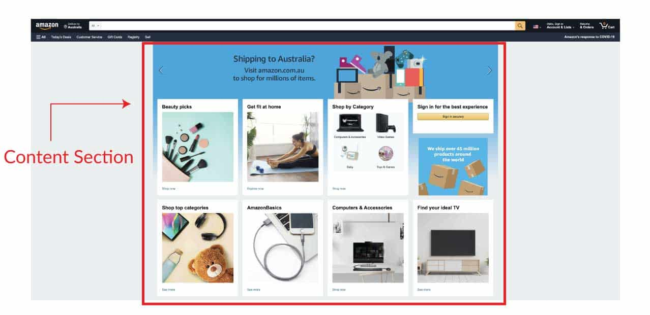 amazon content section
