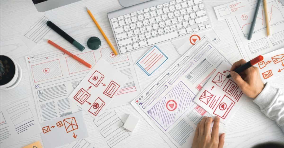 Sketching website mockups and designing storyboards
