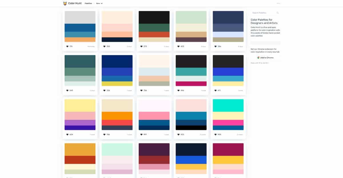 colorhunt - website for color palette