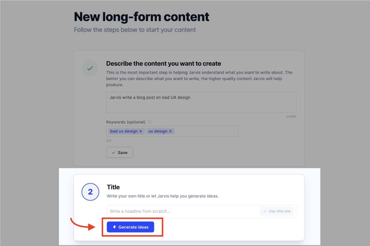 conversion.ai - Generate ideas button