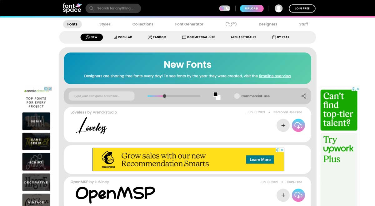fontspace - website for best free fonts