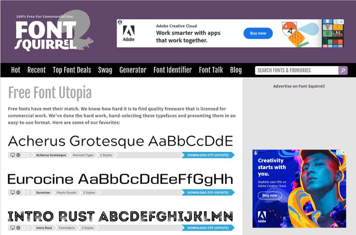 fontsquirrel - website for best free fonts