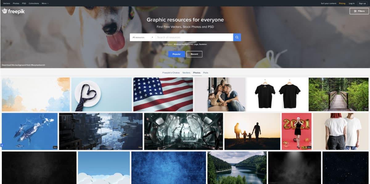 freepik - website for best free stock photos