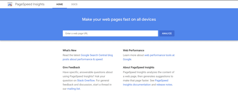 Check website speed on google pagespeed insights