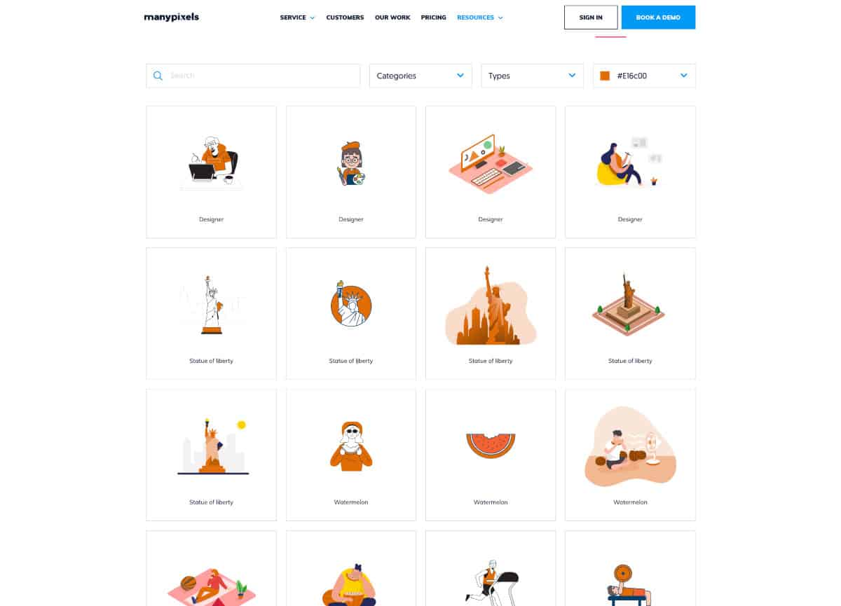 manypixels - website for best free illustrations