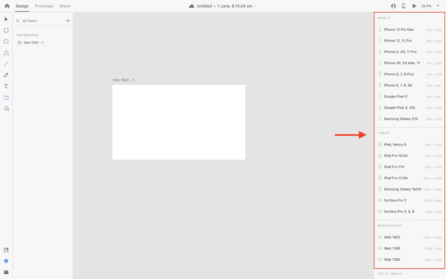 Different artboard options available in Adobe XD
