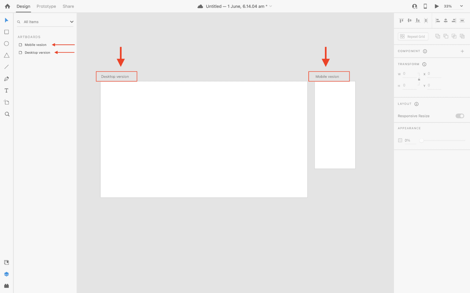 Rename artobards in Adobe XD to make more sense