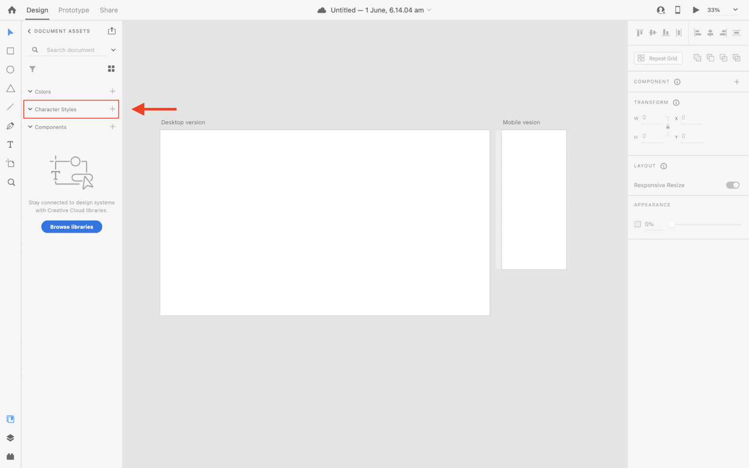 Character styles option in document assets panel