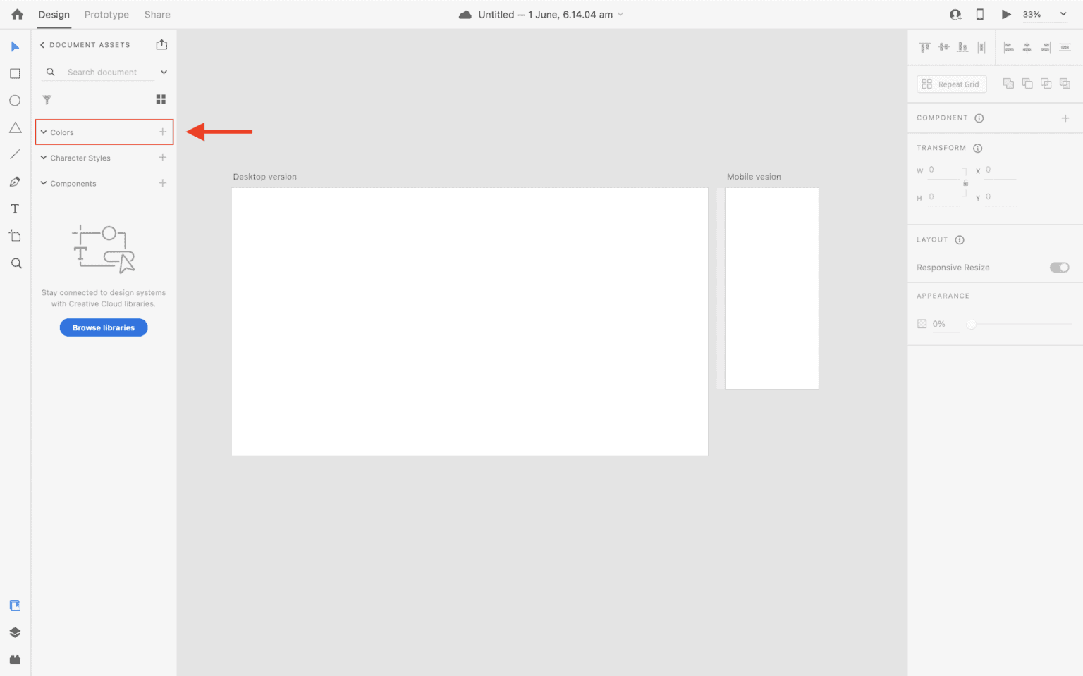 Colors option in document assets panel