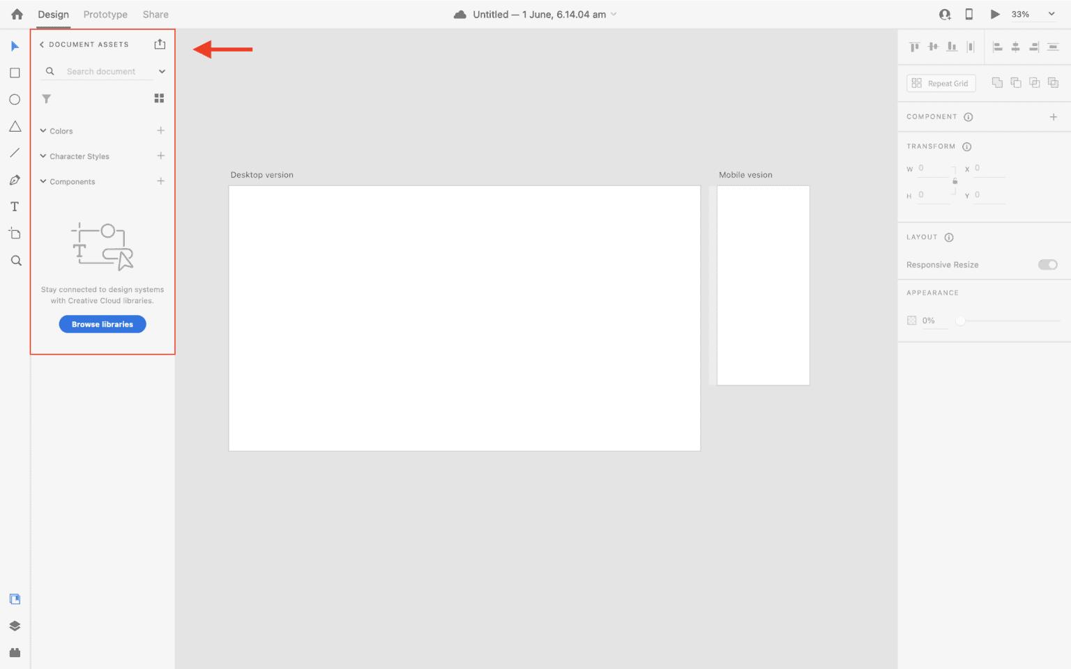 Document assets panel