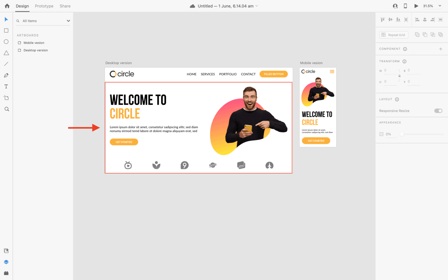 designing main sections in adobe XD