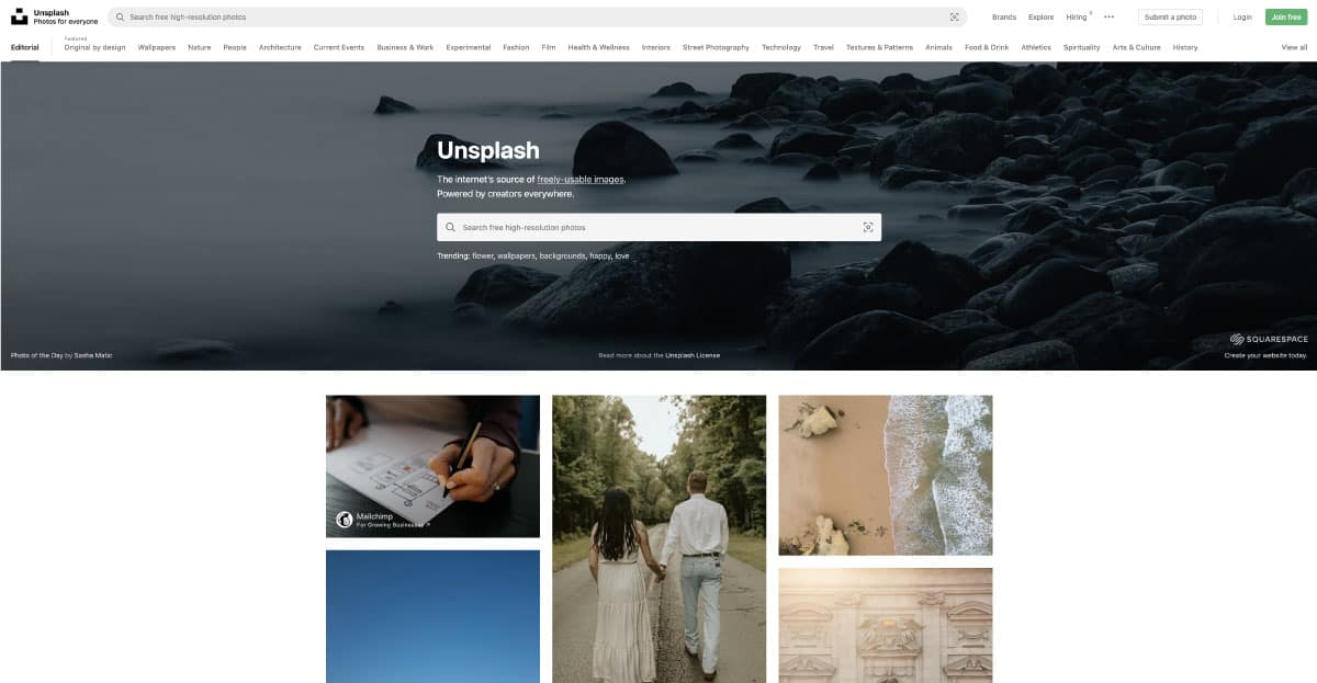 unspash - website for best free stock photos